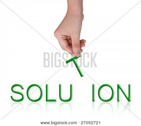 Word-Projektmappe und weibliche Hand, Business-Konzept, isoliert auf weißem Hintergrund