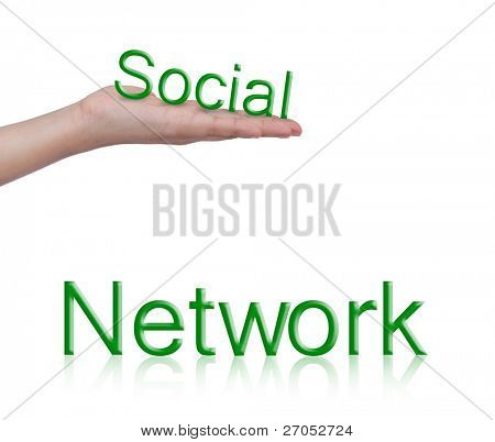 Word Social  network and female hand isolated on white background
