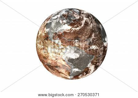 Burning Planet Earth With Magma Of Solar System With Atmosphere Isolated On White Background. Global