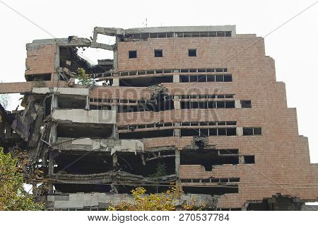 Ruin Of Ministry Of Defense Building From Nato Bombing - Belgrade - Serbia