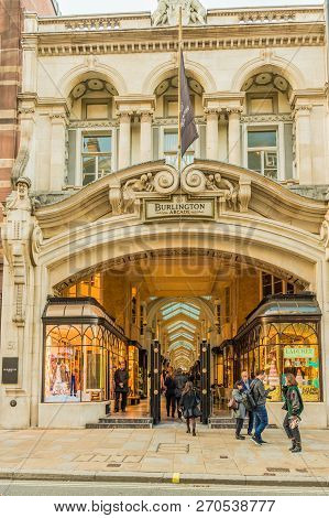 London. November 2018. A View Of Burlington Arcade In Mayfair In London
