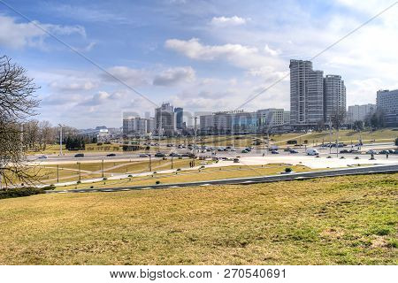 Minsk, Belorussia  - March 11.2017: Square Starostinskaya Sloboda, Residential Areas Of The City And