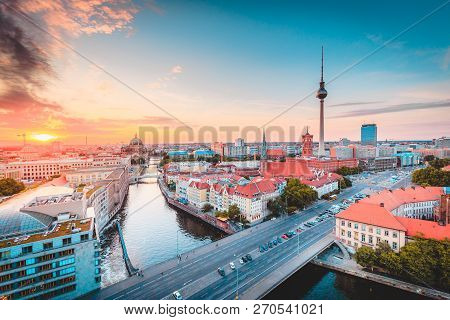 Classic View Of Berlin Skyline With Famous Tv Tower And Spree In Beautiful Golden Evening Light At S