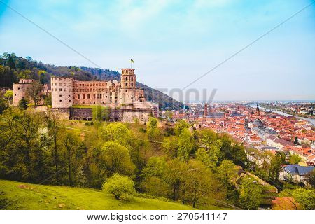 Panoramic View Of The Old Town Of Heidelberg With Famous Heidelberg Castle On A Beautiful Sunny Day