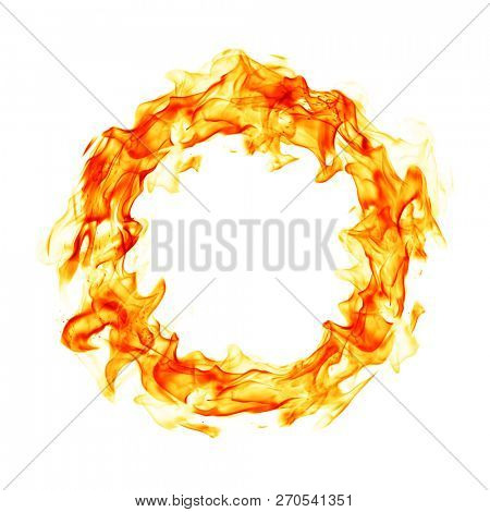 Fire ring on white background