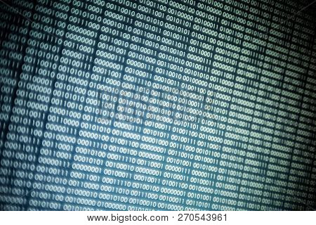 Abstract Big Data Image. Computer Display Screen With Binary Code Moving In The Background. Text Mov