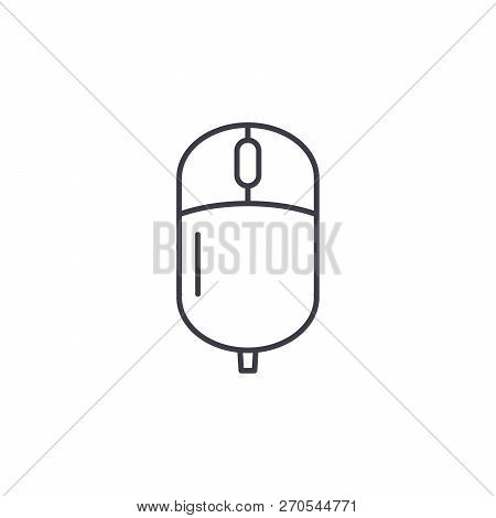 Computer Wireless Mouse Line Icon Concept. Computer Wireless Mouse Vector Linear Illustration, Symbo