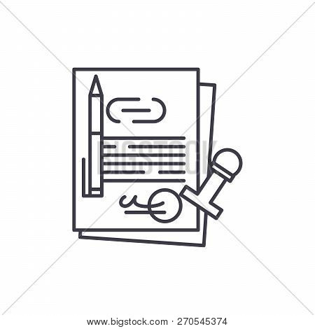 Corporate Law Line Icon Concept. Corporate Law Vector Linear Illustration, Symbol, Sign