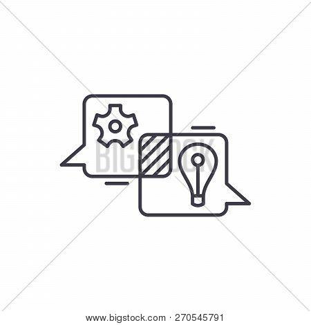 Creative Discussion Line Icon Concept. Creative Discussion Vector Linear Illustration, Symbol, Sign