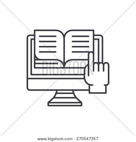 Ebooks line icon concept. Ebooks vector linear illustration, symbol, sign poster