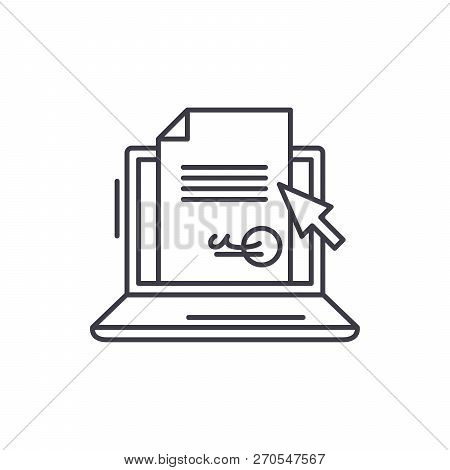 Electronic Signature Of The Contract Line Icon Concept. Electronic Signature Of The Contract Vector