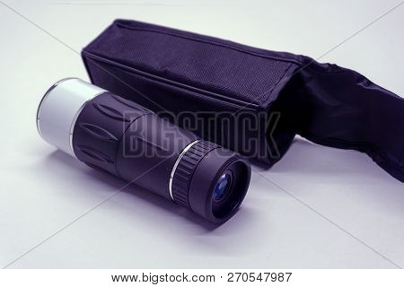 Monocular On The Wooden Background Summer Telescopic