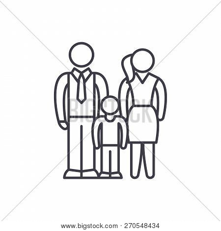 European Family Line Icon Concept. European Family Vector Linear Illustration, Symbol, Sign