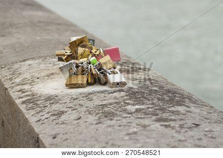 France, Paris, Padlocks On Seine River Embankment Quai De Horologes