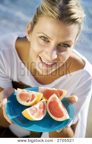 Woman With Pink Grapefruit