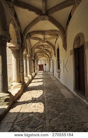 Tomar, Portugal - June 24, 2018:  View Of The Micha Cloister Ambulatory, Built In The 16th Century,
