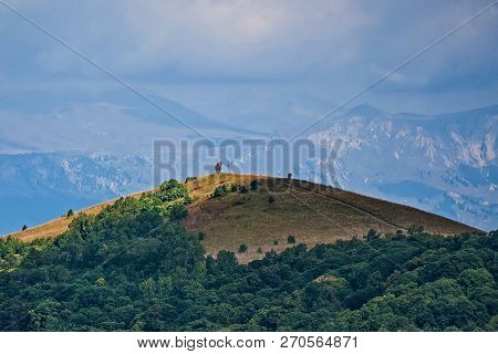 Mountain Peaks Covered With Forest. Mountain Range. Wildlife. Alpine Landscape. Mountain Peak.
