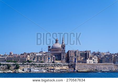 Panoramic View At Valletta City From Sliema Bay. European Island State Of Malta
