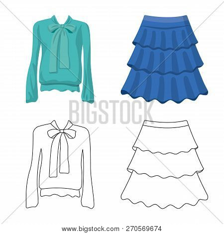 Vector Illustration Of Woman And Clothing Logo. Set Of Woman And Wear Stock Vector Illustration.