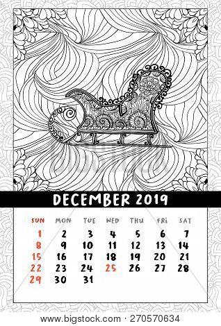 Santas Sledge Coloring Book Page, Calendar December 2019. Traditional Christmas And Yuletide Symbol