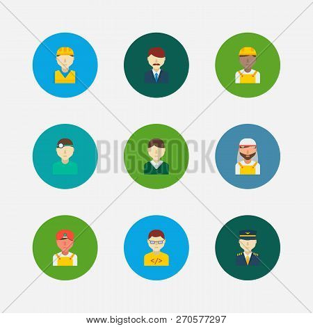Professional Icons Set. Indian Worker And Professional Icons With Male Worker, Plane Pilot And Compu