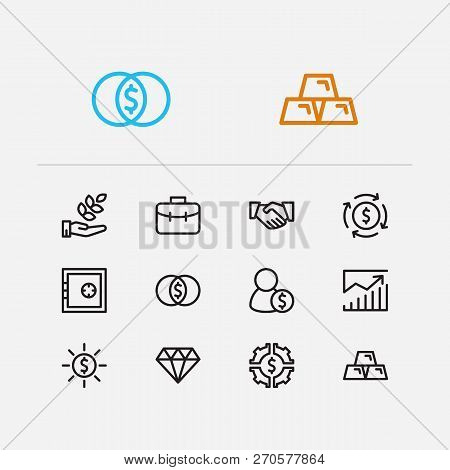 Capital Icons Set. Agriculture Investment And Capital Icons With Financial Management, Gold And Inve