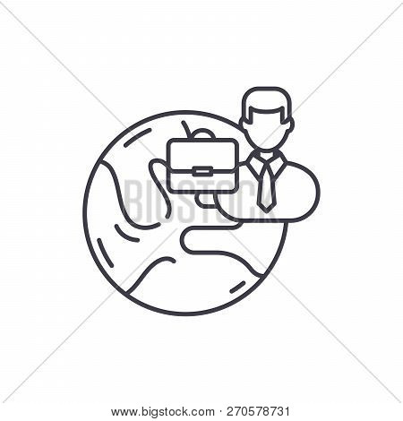 International Business Line Icon Concept. International Business Vector Linear Illustration, Symbol,