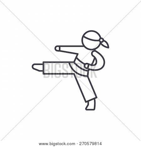 Karate Line Icon Concept. Karate Vector Linear Illustration, Symbol, Sign