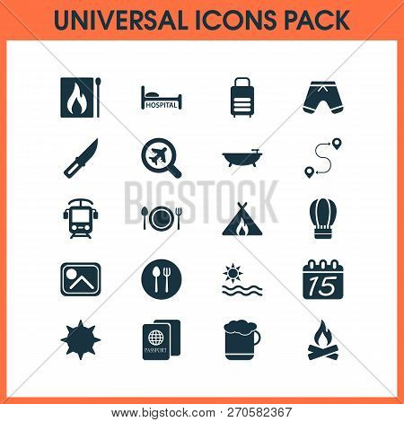 Journey Icons Set With Knife, Shorts, Find An Airplane And Other Citizenship Elements. Isolated Vect