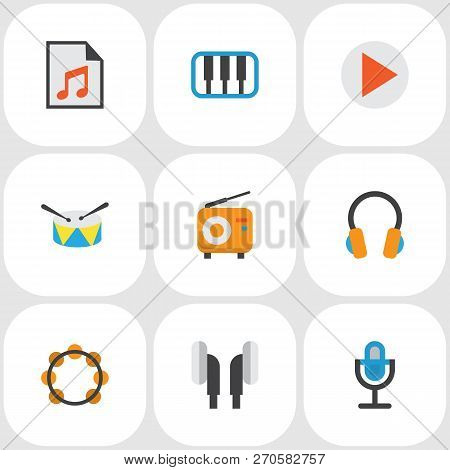 Audio Icons Flat Style Set With Begin, Samba, Synthesizer And Other Earpiece Elements. Isolated Vect