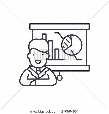 Marketing Director Line Icon Concept. Marketing Director Vector Linear Illustration, Symbol, Sign