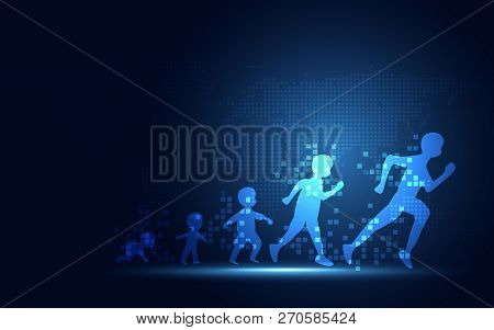 Futuristic Evolution Of People Digital Transformation Abstract Technology Background. Artificial Int
