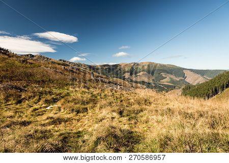 Nizke Tatry Mountain Range Scenery From Sedlo Javorie Mountain Pass Above Demanovska Dolina Valley I