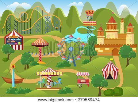 Amusement Park Concept Landscape Map With Flat Fairground Elements, Castle, Mountains Cartoon Vector