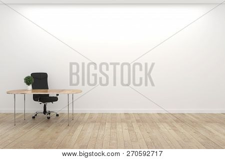 Empty White Conference Room Interior With Wood Floor On White Wall Background - Empty Room Business