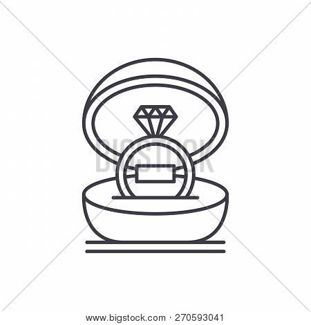 Marriage Ceremony Line Icon Concept. Marriage Ceremony Vector Linear Illustration, Symbol, Sign