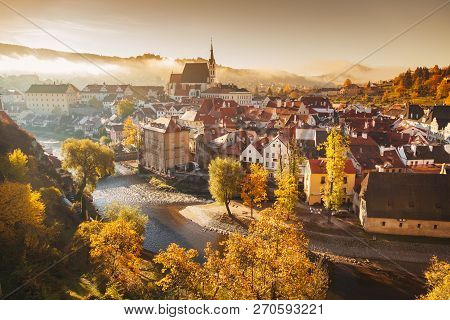 Panoramic View Of The Historic City Of Cesky Krumlov With Famous Cesky Krumlov Castle, A Unesco Worl