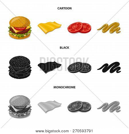 Vector Design Of Burger And Sandwich Logo. Collection Of Burger And Slice Stock Symbol For Web.