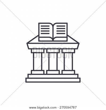 Ministry Of Education Line Icon Concept. Ministry Of Education Vector Linear Illustration, Symbol, S