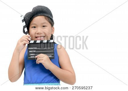 Little Director Holding Clapper Board Or Slate Film For Making Video Cinema Isolated On White Backgr