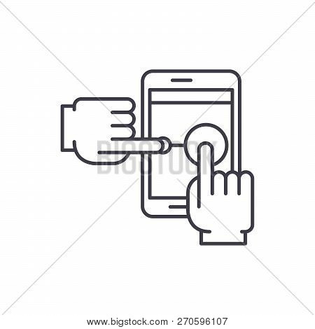 Multi Touch Line Icon Concept. Multi Touch Vector Linear Illustration, Symbol, Sign