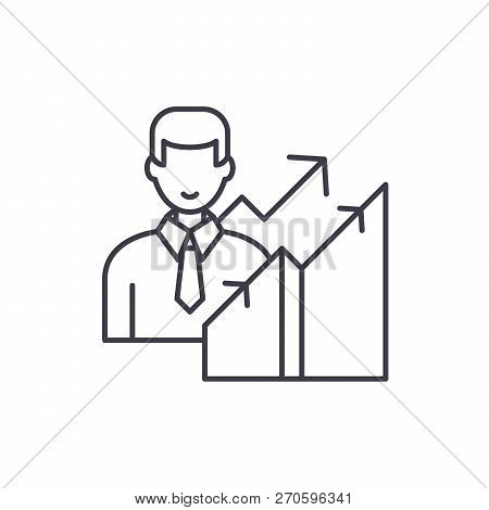 New Career Line Icon Concept. New Career Vector Linear Illustration, Symbol, Sign