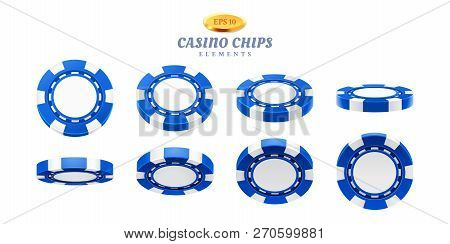 Animation sprites for realistic casino chips or frames for gambling empty tokens flip, cycles of movement for plastic blank chips. Can be used for gif animation at online casino. Gamble theme poster