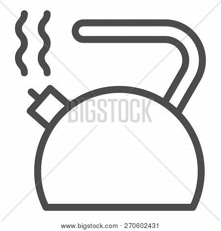 Kettle Line Icon. Teakettle Vector Illustration Isolated On White. Teapot Outline Style Design, Desi