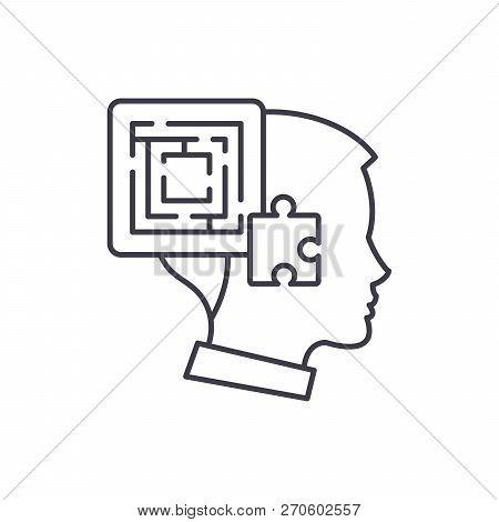 Problem Solving Line Icon Concept. Problem Solving Vector Linear Illustration, Symbol, Sign