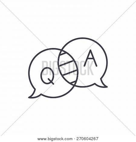 Questions And Answers Line Icon Concept. Questions And Answers Vector Linear Illustration, Symbol, S