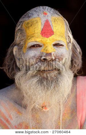 KATHMANDU, NEPAL - NOVEMBER 04: sadhu holy man meditates on  November 04, 2010 in ashupatinath temple, Kathmandu valley, Nepal.