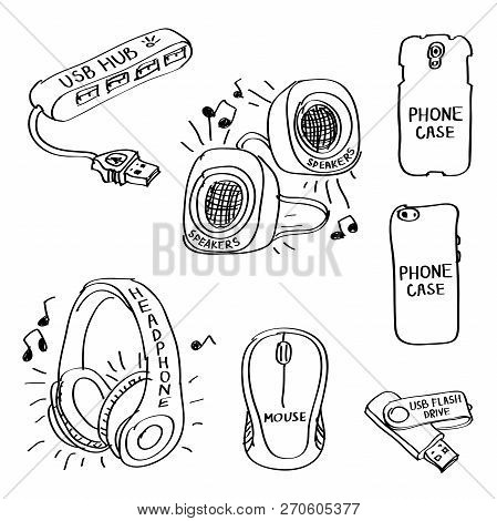 Set Of Hand Drawn Computer Accessories Doodles Isolated On A White Background. Vector Illustrations