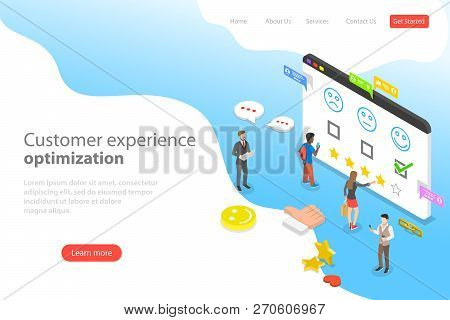Isometric Flat Vector Landing Page Template Of Customer Experience Optimization.