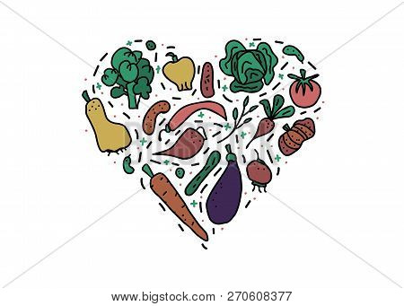 Heart Concept Of Vector Vegetables. Collection Of Veg In Doodle Style Isolated On White Background.